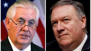 Rex Tillerson (G) quitte le secrétariat d'Etat au profit du directeur de la CIA, Mike Pompeo (D), le 13 mars 2018.