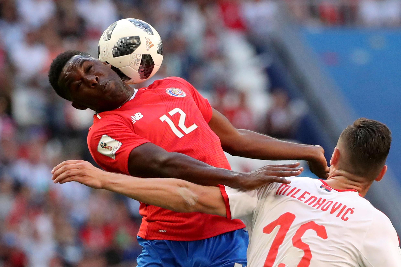 Costa Rica's Joel Campbell in action with Serbia's Nikola Milenkovic, Samara Arena, Russia on 17 June, 2018
