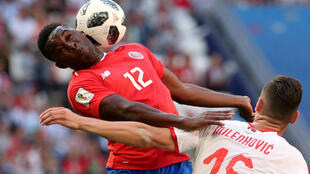 Costa Rica's Joel Campbell in action with Serbia's Nikola Milenkovic, Samara Arena, Russia on 17 June, 2018