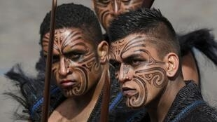 Maori warriors from New Zealand take part in the traditional Bastille Day military parade on the Champs Elysées in Paris.