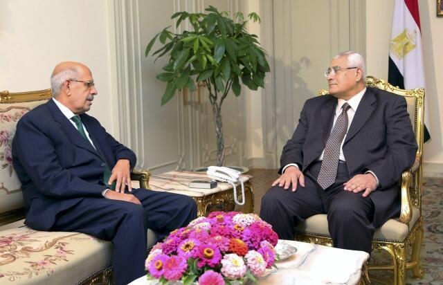 Quyền Tổng thống Ai Cập Adli Mansour (P) tiếp ông Mahamed Elbaradei tại dinh tổng thống, Cairo, 06/07/2013