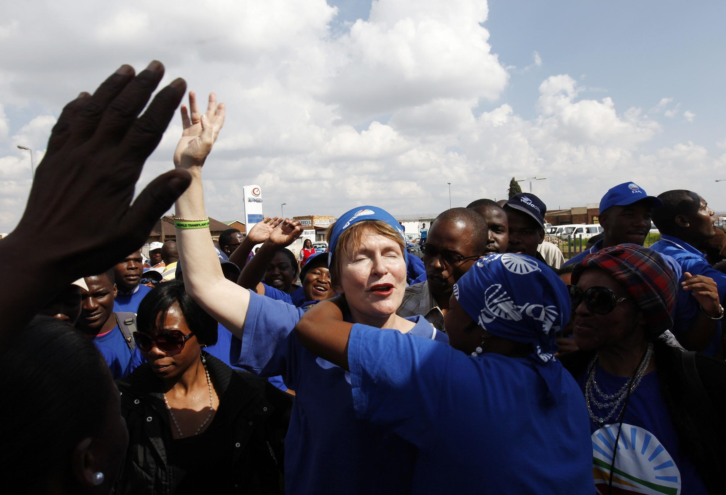 Democratic Alliance leader Helen Zille on a visit to Soweto