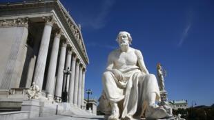 Statue de l'historien grec Thucydide par le Parlement, Vienne, Autriche.