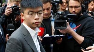 香港抗议运动代表人物 众志秘书长黄之锋应邀访问德国 2019年9月11日 摄于柏林 L'activiste de Hong Kong Joshua Wong avant sa conférence de presse à Berlin. Le 11 septembre 2019.