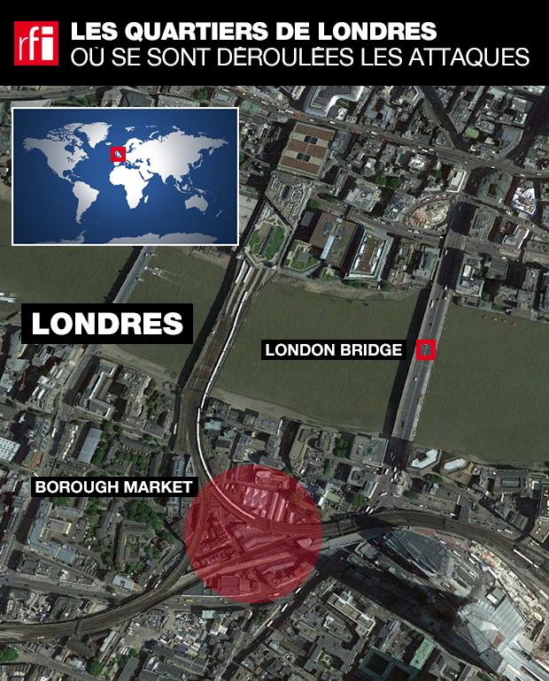 Localisation des attaques du 3 juin 2017.