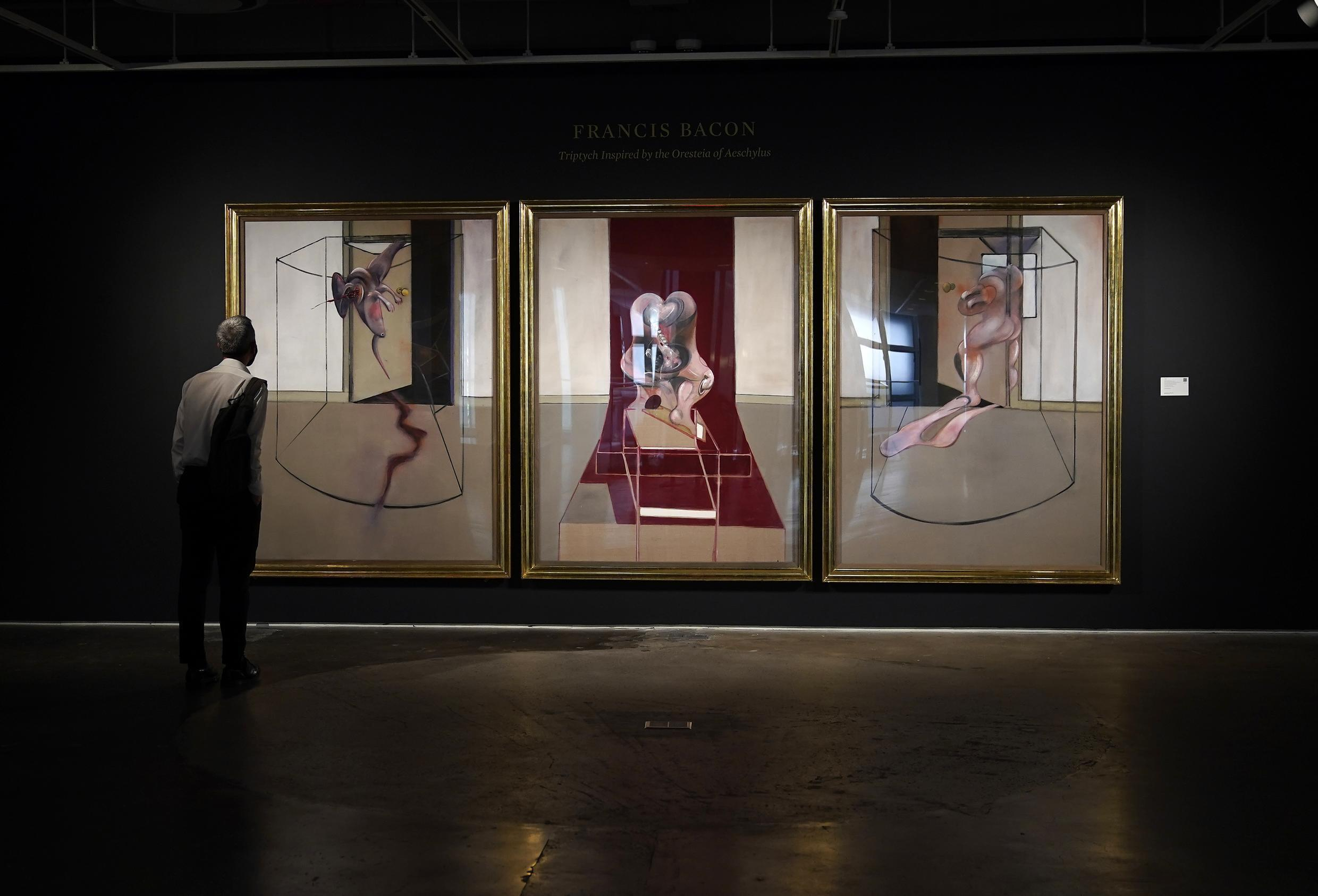 """A triptych by Francis Bacon, inspired by Aeschylus's """"Oresteia,"""" is one of 28 large-scale triptychs painted by the British artist between 1962 and 1991"""