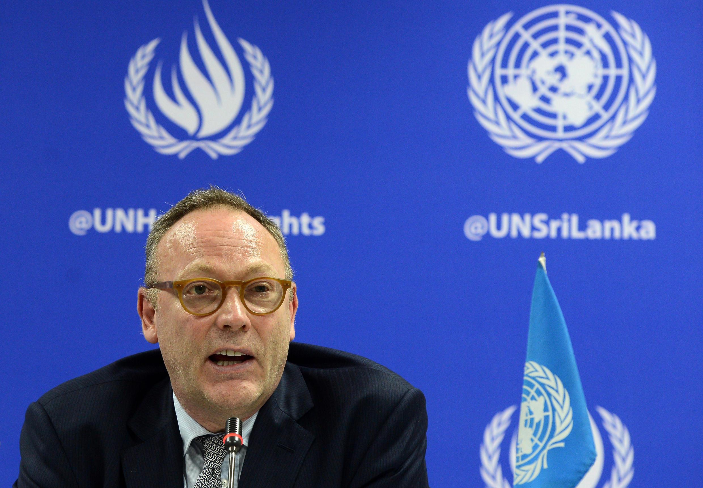 Ben Emmerson, rapporteur spécial des Nations unies pour les droits de l'homme, ici lors d'une conférence de presse à Colombo, le 14 juillet 2017.
