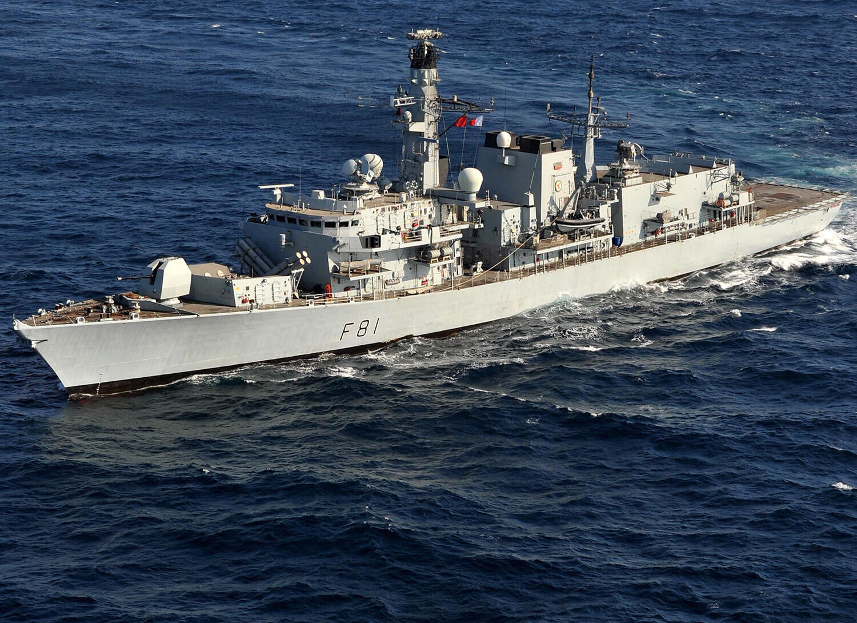图为英国军舰(HMS Sutherland)航行图