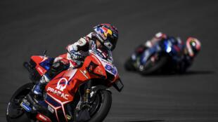 Pramac Racing's Spanish rider Jorge Martin before crashing in the third Portuguese MotoGP free practice session