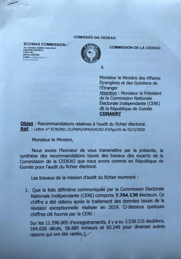 Lettre de trois pages signée du général Béhanzin, commissaire aux Affaires politiques, Paix et Sécurité de la Cédéao et adressée au ministre des Affaires étrangères ainsi qu'au président de la Céni.