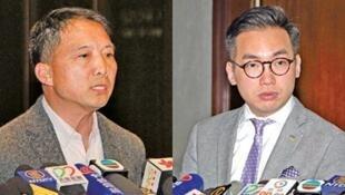 民主党主席胡志伟(左)  2017年4月18日