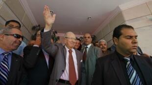 Beji Caïd Essebi, leader de Nida Tounes, premier parti à l'Assemblée tunisienne. Le 28 octobre 2014, à Tunis.