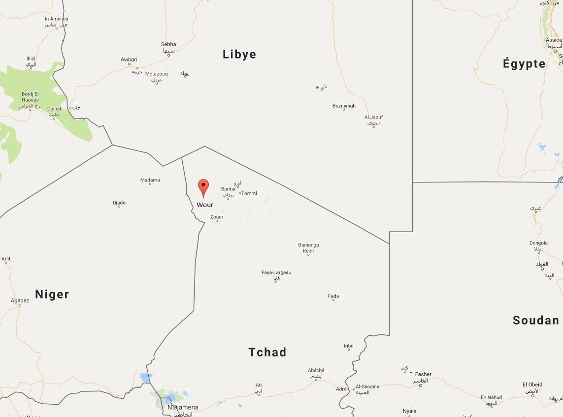 Ramani ya nchi ya Chad inayokaribiana na Libya