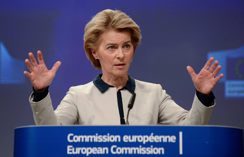 Chủ tịch Ủy Ban Châu Âu Ursula von der Leyen gay gắt lên án tình trạng đơn phương cấm nhập cảnh của một số nước thành viên. Ảnh tại Bruxelles, ngày 13/03/2020.