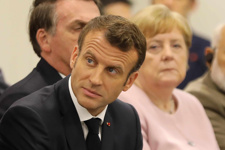 法國總統馬克龍與德國總理默克爾2019年6月29日大阪G20峰會