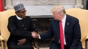 Shugaban Najeriya Muhammadu Buhari, yayin ganawa da takwaransa na Amurka Donald Trump a birnin Washington. 30/04/2018.