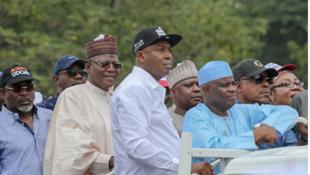 Wasu daga cikin jiga-jigan PDP da suka halarci zanga-zangar a Abuja