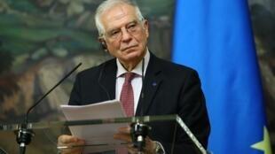 El jefe de la diplomacia europea, Josep Borrell, en una rueda de prensa en Moscú, Rusia, el 5 de febrero de 2021