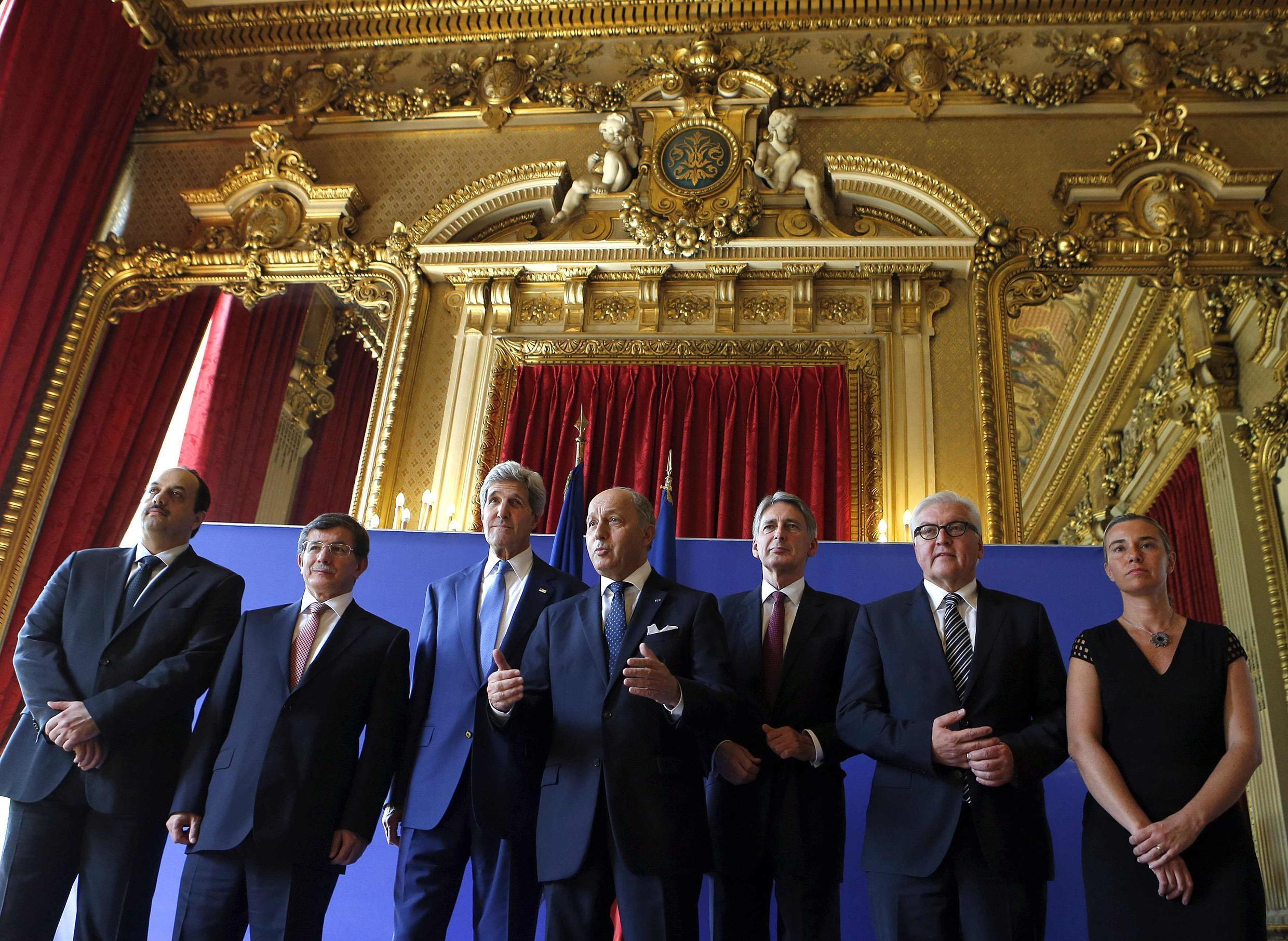 French Foreign Affairs Minister Laurent Fabius appeals for a truce in Gaza at a summit in Paris on Saturday morning