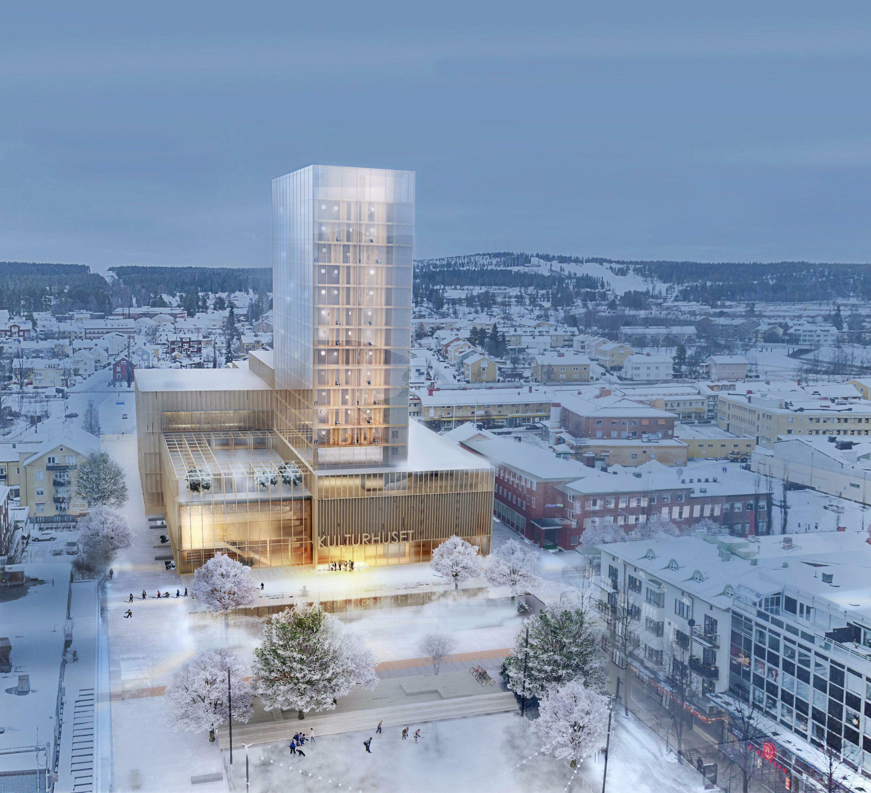 Le nouveau centre culturel de la petite ville suédoise de  Skellefteå construit en bois. Il atteint une hauteur de 80 mètres et comporte 20 étages.