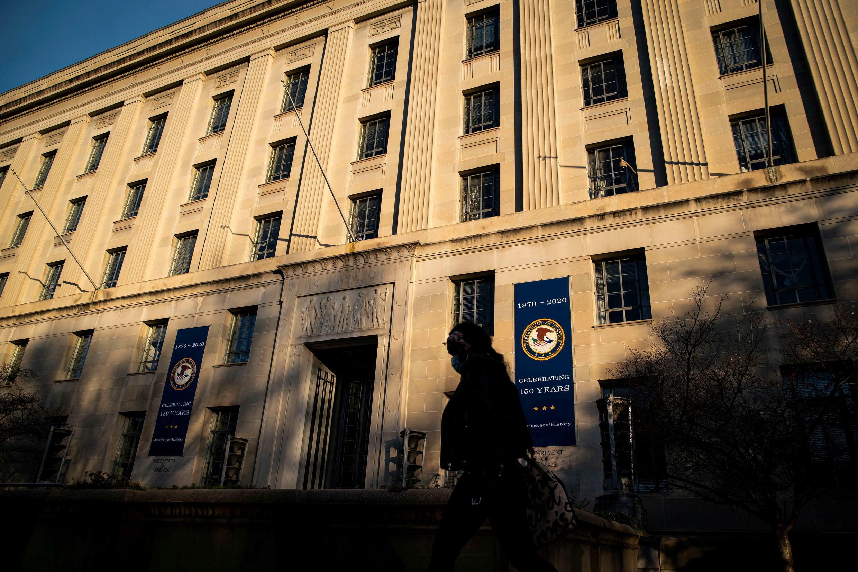 美國司法部大樓資料圖片