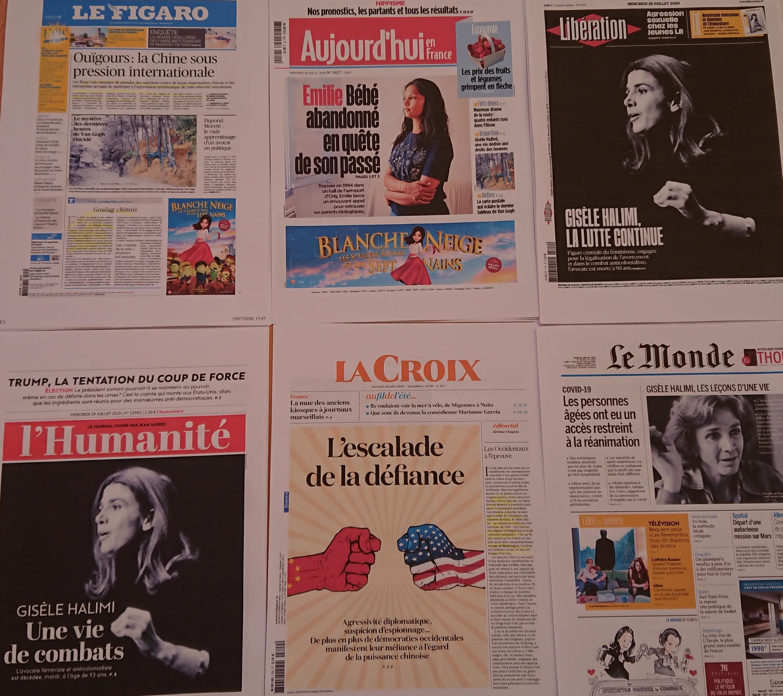 Primeiras páginas de diários franceses 29 07 2020