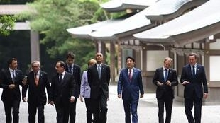 The heads of state of the US, the UK, Italy, Germany, Canada, Italy and Japan at the G7 summit in Ise-Shima