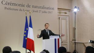Le président français Emmanuel Macron à Orléans, le 27 juillet 2017.