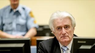Radovan Karadzic alikuwepo wakati wa uamuzi wa kesi yake kwenye Mahakama ya Kimataifa ya Uhalifu kwa Yugoslavia ya zamani Machi 24, 2016.