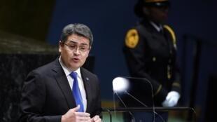 El presidente hondureño Juan Orlando Hernández, el 25 de septiembre de 2019 en la sede de la ONU, Nueva York.