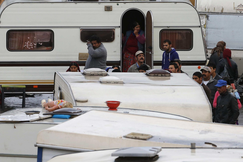 Acampamento de ciganos na região de Lille no norte da França, 11 de setembro de 2013