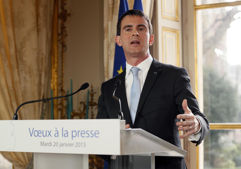 Manuel Valls speaks to the media on Tuesday