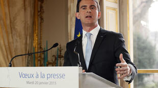 Manuel Valls speaks to the media on Tuesday