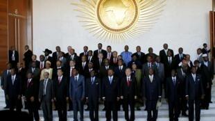 Gungun Shugabannin kasashen Afrika tare da Ban-Ki-moon Sakataren Majalisar Dinkin Duniyaa taron kasashen karo na 18 a birnin Addis Ababa