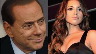 """Thủ tướng Ý Silvio Berlusconi và cô Karima El Mahroug """"Ruby"""" - ảnh ghép"""