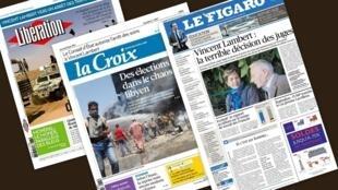 Capa dos jornais franceses Libération, Le Figaro e La Croix desta quarta-feira, 25 de junho de 2014.