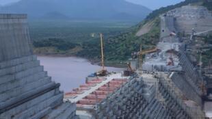 Le chantier du barrage de la Grande renaissance sur le Nil en Éthiopie, le 26 septembre 2019.