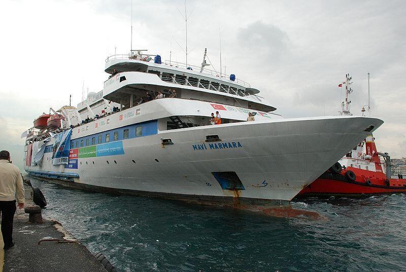 The MV Mavi Marmara leaving Antalya for Gaza on 22 May 2010