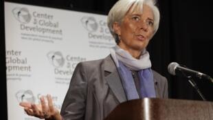 Christine Lagarde durante discurso nessa segunda-feira no FMI.