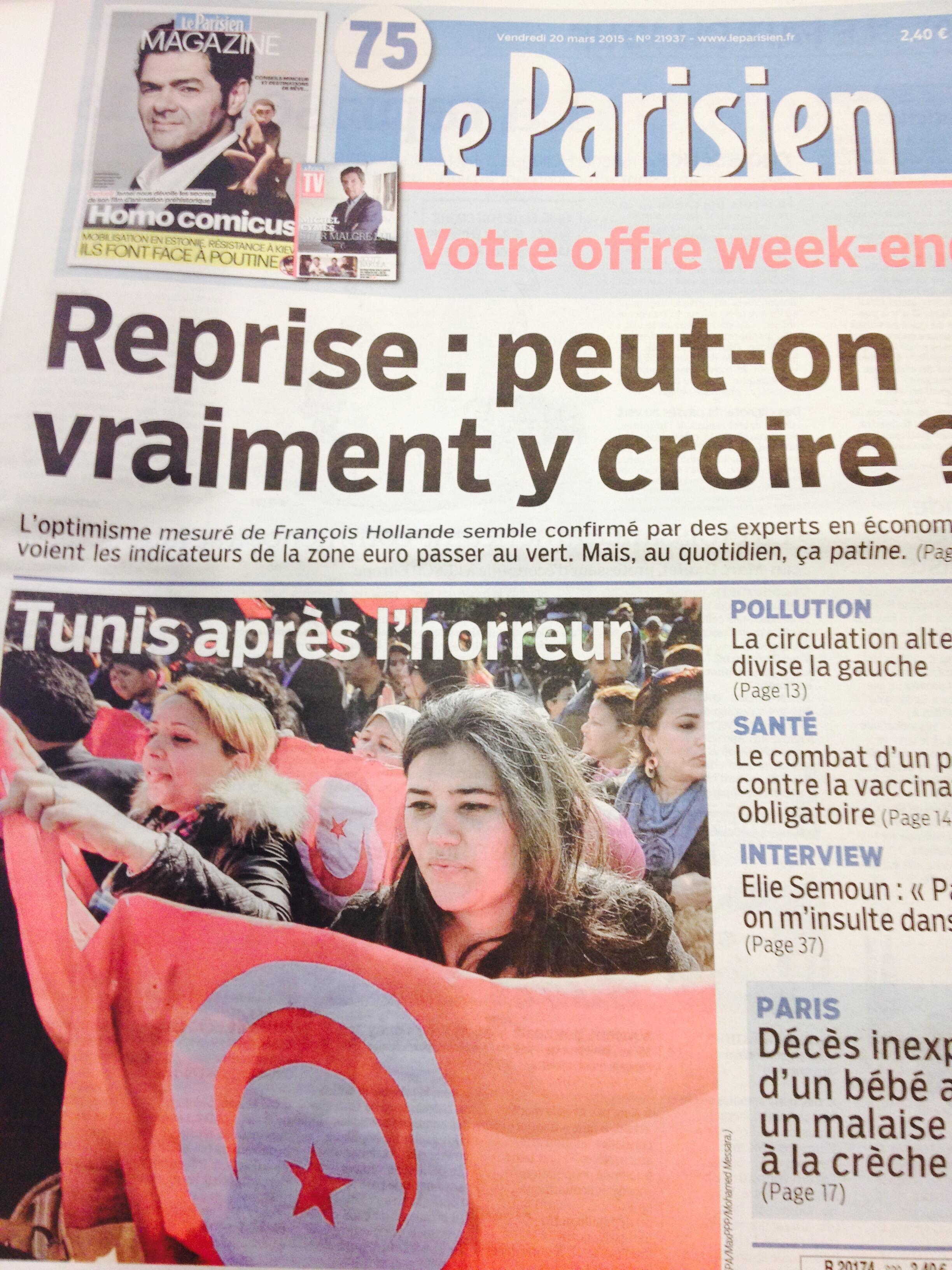 Primeira página do diário francês Le Parisien de 20/03/2015