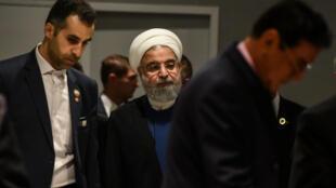 Tổng thống Iran Rouhani đến họp báo bên lề Đại hội đồng LHQ ngày 20/09/2017.