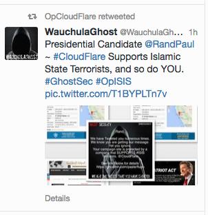 Capture d'écran d'un compte Twitter d'un Anonymous qui interpelle le politique américain Ron Paul.