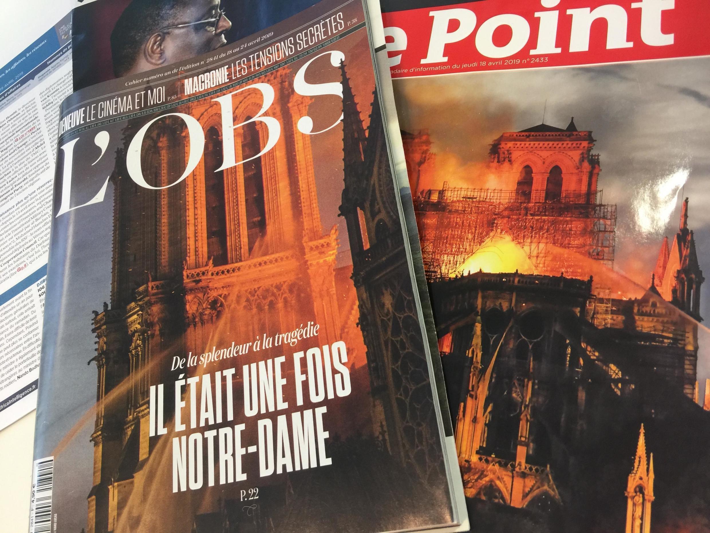 Primeiras páginas das revistas francesas.