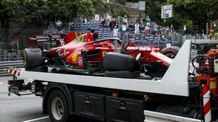 Crash test: Charles Leclerc's Ferrari returned to the parc ferme in Monaco on a truck afer qualifying but was repaired in time for the Grand Prix