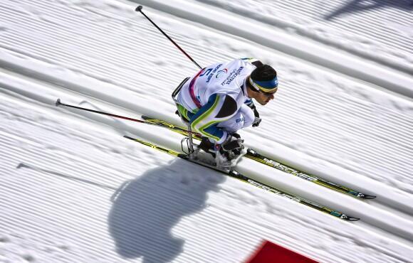 Fernando Rocha disputando os 10 km do esqui cross-country em Sochi, neste domingo, 16 de março de 2014.
