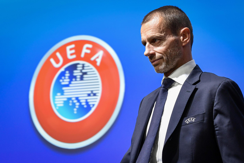 Le président slovène de l'UEFA, Aleander Ceferin, après une conférence de presse au siège de l'organisation, le 4 décembre 2019 à Nyon (Suisse)