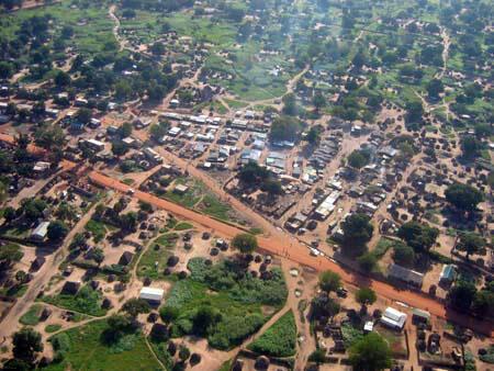 Vue aérienne d'une partie de Juba, la capitale du Soudan du Sud.