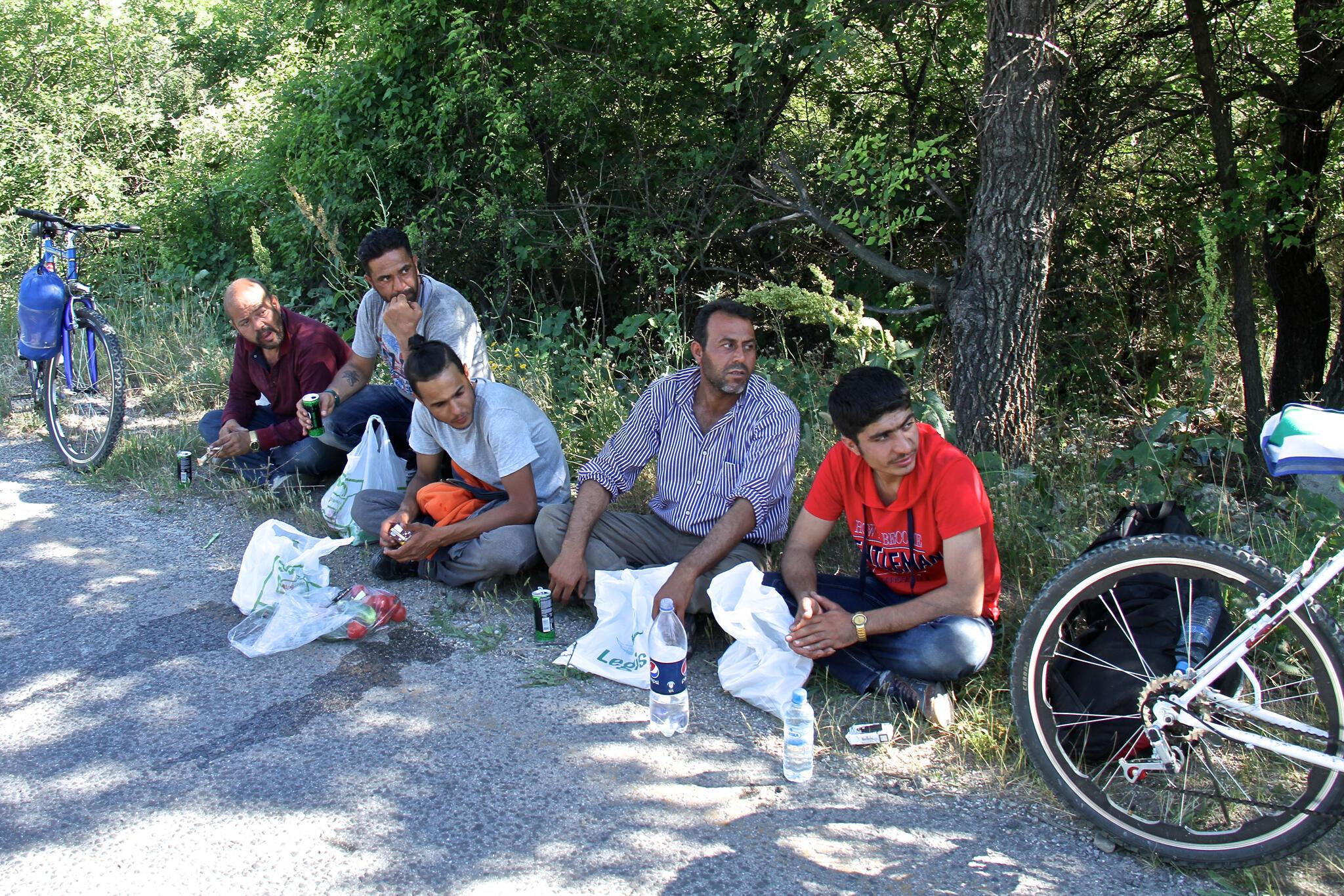 Un groupe de migrants syriens.