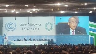 Hoesung Lee, Chair of the Intergovernmental Panel on Climate Change (IPCC) calls on delegates at UN climate talks to ramp up ambition after chilling report warns world way off course, Katowice, Poland, 6 December 2018