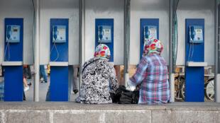 Des cabines téléphoniques dans le vieux quartier d'Istanbul, Eminonu.